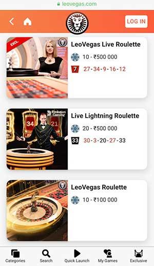 Leovegas live roulette
