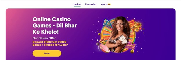 """Screenshot of Casumo's website, showing a picture of a girl and casino imagery. Text says """"Deposit 1000 INR get 2000 INR Bonus plus 1 rupee for luck"""""""