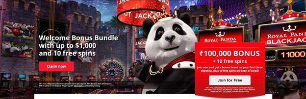"Screenshot of Royal Panda's casino website, showing mascot of a panda. Text says ""100,000 INR Bonus plus 10 free spins"""